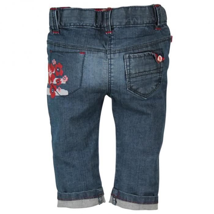 Pantalon jeans cu flori Boboli