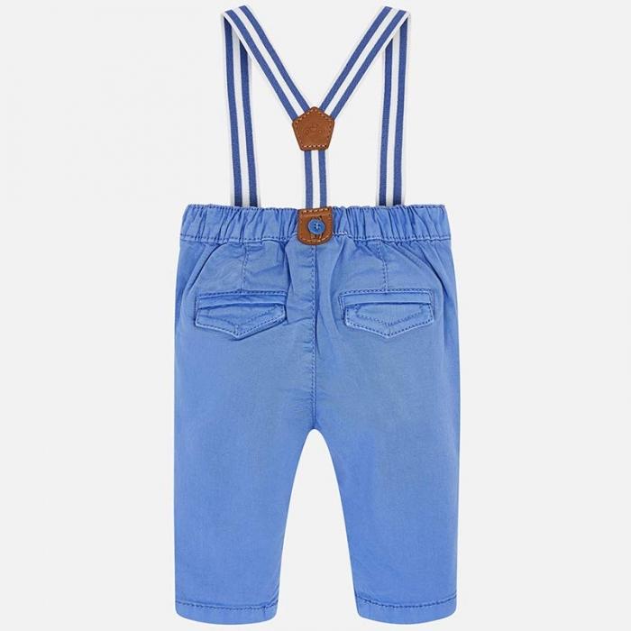Pantaloni bebe baiat cu bretele, azur, Mayoral 1