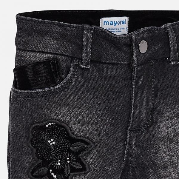 Pantaloni denim cu broderie Mayoral, negru 2