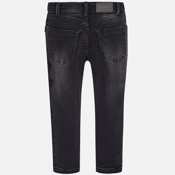 Pantaloni denim cu broderie Mayoral, negru 1