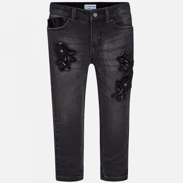 Pantaloni denim cu broderie Mayoral, negru 0
