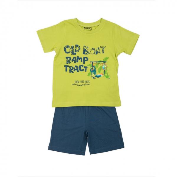 Pijama bumbac maneca scurta baiat Babybol navy