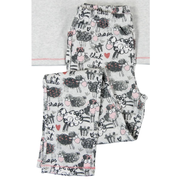 Pijama fete bumbac light gri Boboli