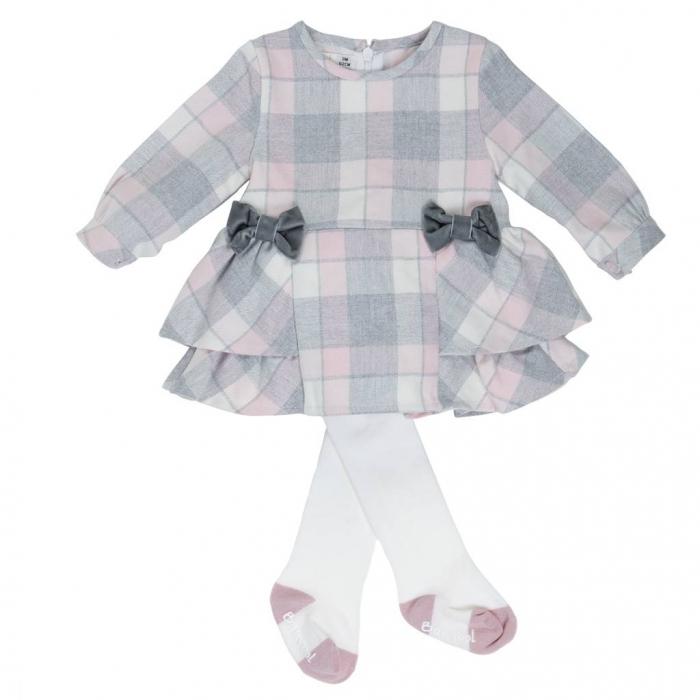 Rochie Babybol stofa carouri cu dres asortat , roz 0