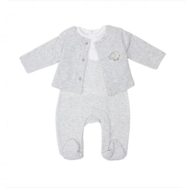 Set 3 piese bebe cardigan+tricou+salopeta Babybol