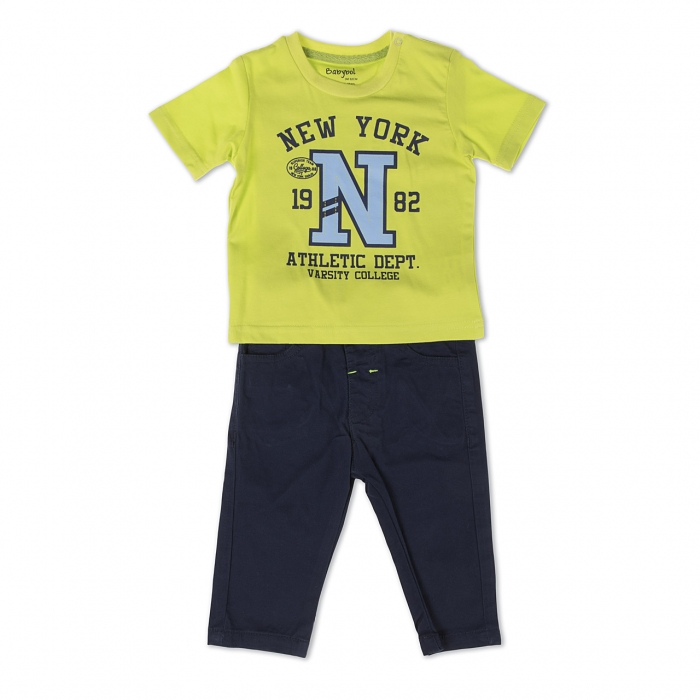 Set baiat , tricou maneca scurta si pantalon lung navy, Babybol 0