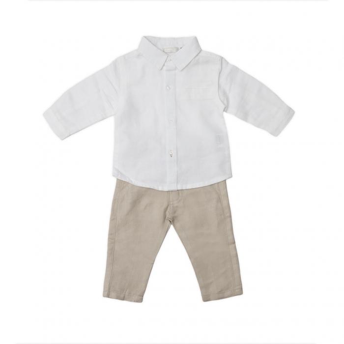 Set elegant baieti, camasa alba si pantaloni din in , Babybol