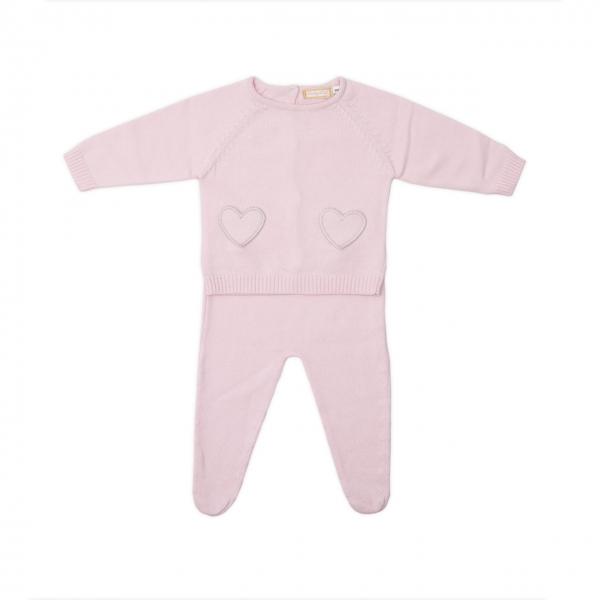 Set nou nascut tricot bumbac Babybol roz