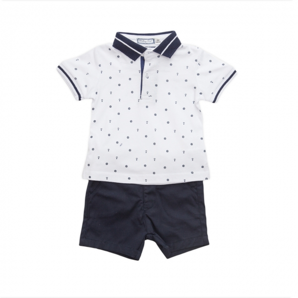 Set tricou polo si pantalon scurt Babybol navy